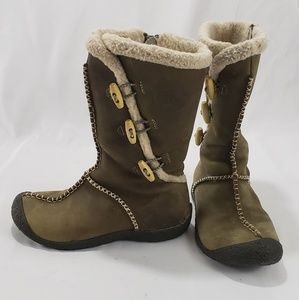Keen Dark Tan Leather Sherling Winter Snow Boots